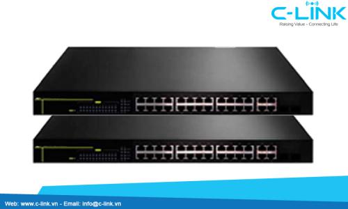 Switch Truy Cập Thông Minh 24 Cổng FE + 2 Giga / 2 Compo DCN (DCS-3950-28CT-POE) C-LINK Phân Phối